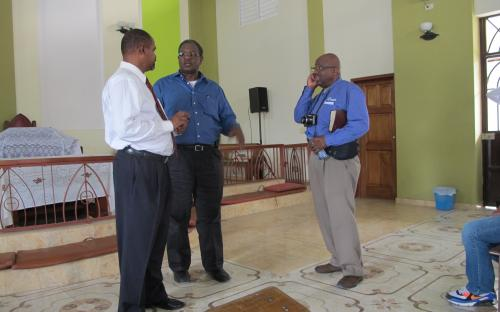 Pastor Francois, Rev. Alvin Noel and Donald Evans at St. Paul A.M.E PAP