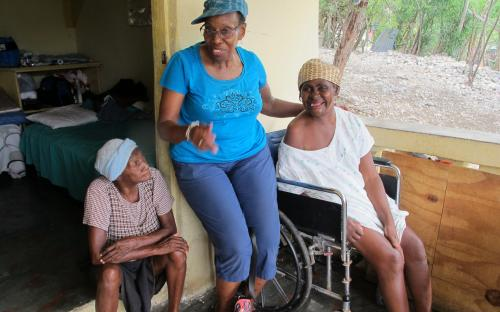 Joan sharing with mothers at the Elderly Home